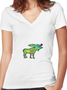 Psychedelic Charm Women's Fitted V-Neck T-Shirt