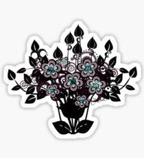 Fantasy Flowers - Black Floral Silhouette Sticker