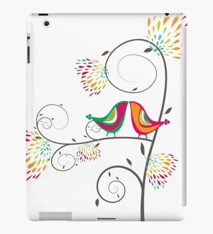 Whimsical Tropical Summer Kissing Birds with Colorful Rainbow Floral Blooms iPad Case/Skin