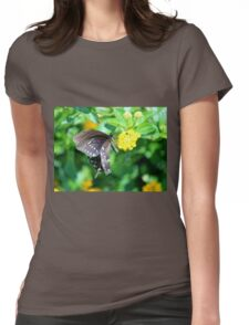 Butterfly Side View Womens Fitted T-Shirt