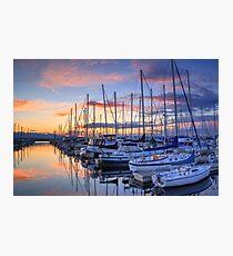 Sunset on Shilshole Bay Marina, Seattle, Washington Photographic Print