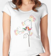 Whimsical Tropical Summer Kissing Birds with Colorful Rainbow Floral Blooms Women's Fitted Scoop T-Shirt
