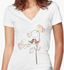 Whimsical Tropical Summer Kissing Birds with Colorful Rainbow Floral Blooms Women's Fitted V-Neck T-Shirt