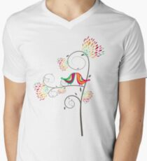 Whimsical Tropical Summer Kissing Birds with Colorful Rainbow Floral Blooms Mens V-Neck T-Shirt