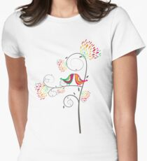 Whimsical Tropical Summer Kissing Birds with Colorful Rainbow Blooms T-Shirt