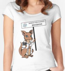 March for Science Brisbane – Kangaroo, full color Women's Fitted Scoop T-Shirt