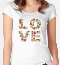 LOVE Spring Flowers in Red Women's Fitted Scoop T-Shirt