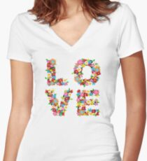 LOVE Spring Flowers | Red Women's Fitted V-Neck T-Shirt
