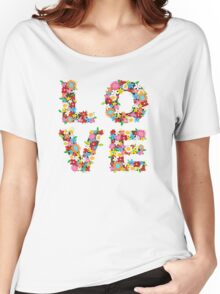 LOVE Spring Flowers | Red Women's Relaxed Fit T-Shirt