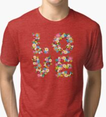 LOVE Spring Flowers in Red Tri-blend T-Shirt