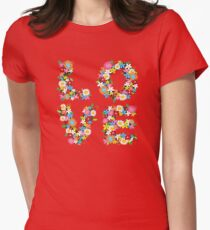 LOVE Spring Flowers | Red Womens Fitted T-Shirt