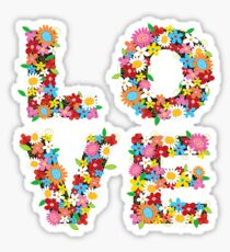 LOVE Spring Flowers in Red Sticker