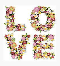 LOVE Spring Flowers   Pink Photographic Print