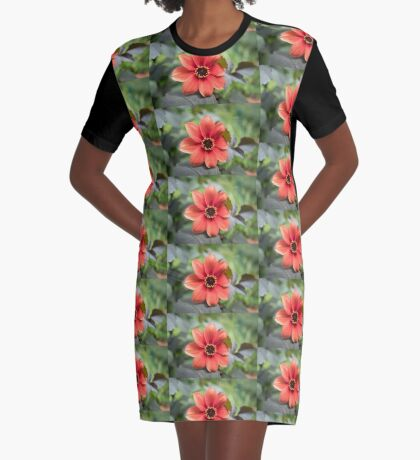 A Peachy Dahlia Graphic T-Shirt Dress