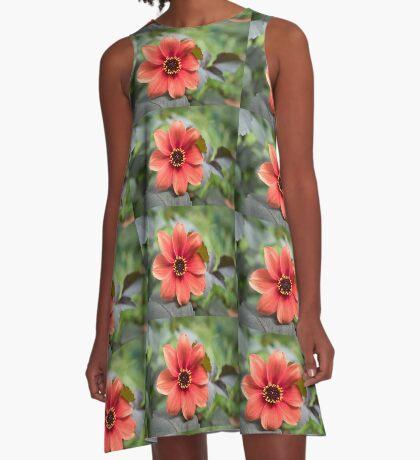 A Peachy Dahlia A-Line Dress