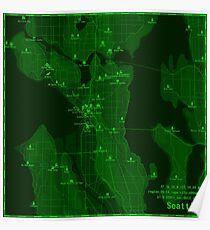 Seattle Map via Pip-Boy Poster