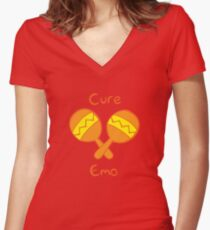 Cure Emo Women's Fitted V-Neck T-Shirt