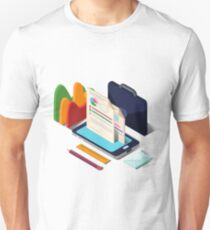 Modern Business Life Isometric Concept with Smart Phone, Charts and Documents T-Shirt