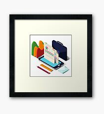 Modern Business Life Isometric Concept with Smart Phone, Charts and Documents Framed Print