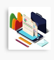 Modern Business Life Isometric Concept with Smart Phone, Charts and Documents Canvas Print
