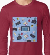 Photographer Tools Seamless Pattern with Camera and Computer Long Sleeve T-Shirt