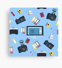 Photographer Tools Seamless Pattern with Camera and Computer Canvas Print