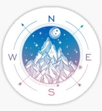Wanderlust Tattoo of Hand Drawn Mountain Wind Compass Sticker