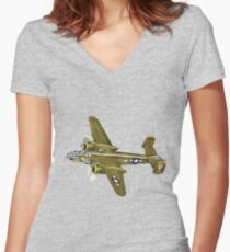 American B-25 Mitchell Bomber Aircraft  Women's Fitted V-Neck T-Shirt