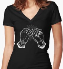 Burning Man - Tattoed Hands Doing a Pinky Promise - Vintage Occult Women's Fitted V-Neck T-Shirt