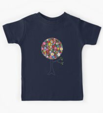 Whimsical Colorful Spring Flowers Pop Tree Kids Tee
