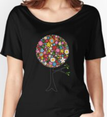 Whimsical Colorful Spring Flowers Pop Tree Women's Relaxed Fit T-Shirt