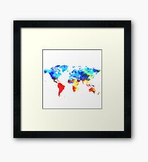 Painted Watercolor Art Map of the World Earth Continents Framed Print