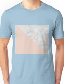 Rose gold marble and soft blush pink Unisex T-Shirt