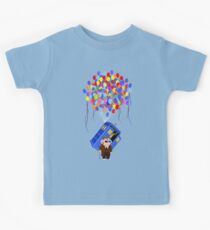 Kawaii Old 10th Doctor With Blue Phone booth Kids Tee