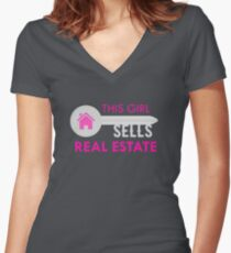 This Girl Sells Real Estate Funny Realtor Agent  Women's Fitted V-Neck T-Shirt