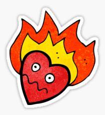 flaming heart cartoon character Sticker