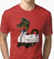 March for Science Townsville – Crocodile, full color Tri-blend T-Shirt