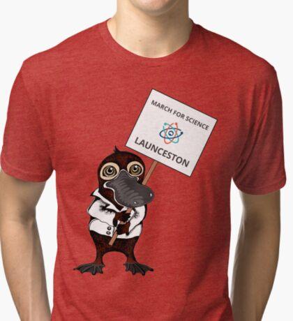 March for Science Launceston – Platypus, full color Tri-blend T-Shirt