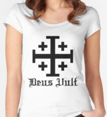 Crusader Cross - Deus Vult Women's Fitted Scoop T-Shirt