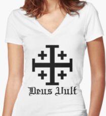 Crusader Cross - Deus Vult Women's Fitted V-Neck T-Shirt