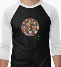 Whimsical Colorful Spring Flowers Pop Trees Men's Baseball ¾ T-Shirt