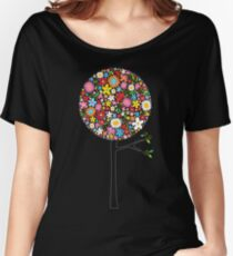 Whimsical Colorful Spring Flowers Pop Trees Women's Relaxed Fit T-Shirt
