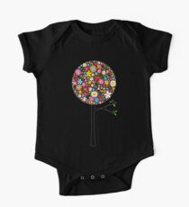 Whimsical Colorful Spring Flowers Pop Trees One Piece - Short Sleeve