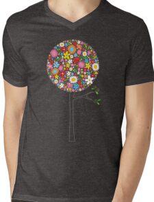 Whimsical Colorful Spring Flowers Pop Trees Mens V-Neck T-Shirt