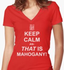 Calming Mahogany-White Women's Fitted V-Neck T-Shirt