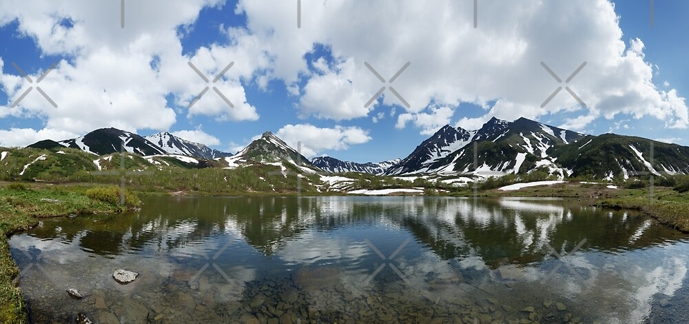 Panorama mountain landscape lake, mountains and clouds in blue sky on sunny day by Alexander Piragis