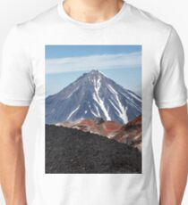 Panoramic volcanic landscape - crater active Avacha Volcano in Kamchatka Peninsula Unisex T-Shirt