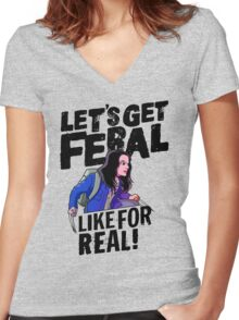 Laura gets feral Women's Fitted V-Neck T-Shirt