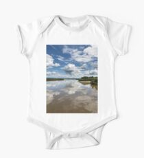 Beautiful clouds over river and reflection in water One Piece - Short Sleeve