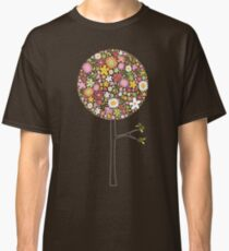 Whimsical Pink Pop Tree with Colorful Spring Flowers Classic T-Shirt